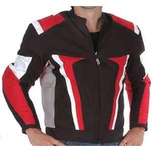 Nemesis Red Black Armored Mens Textile Motorcycle Jacket