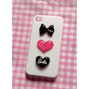 Pink /Black Barbie Love Heart Kawaii Glitter Hearts Iphone