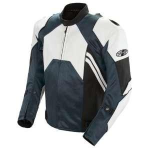 Mens Leather Motorcycle Jacket White/Gunmetal 52 1052 1752 Automotive