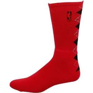 Nba Logo Argyle Crew Sock   Red/Black Large Sports
