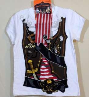 Girls Halloween Costume T Shirt Bandana Jolly Roger Pirate Princess XS