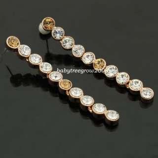 18K Rose Gold GP Swarovski Crystal Dangle Earring 612