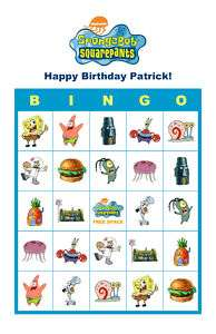 SpongeBob Squarepants Birthday Party Game Bingo Cards