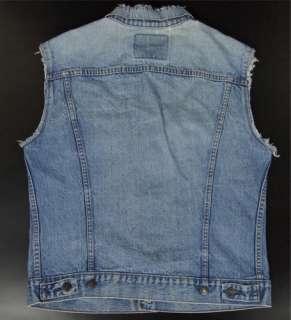 Vtg Levis Men 40 M Jean Vest Blue Denim Jacket Sleeveless Punk Hipster