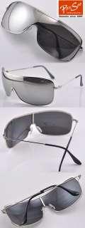 Mens Sunglasses Aviator Square Mirror silver metal Frame #062