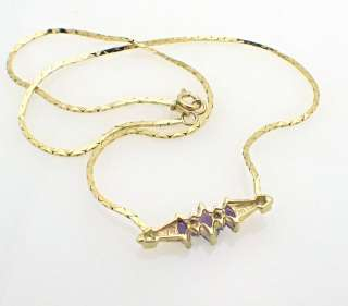 14k Yellow gold Amethyst Diamond Necklace Chain 7.4 gr
