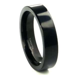 Black Tungsten Carbide 6mm Flat Wedding Ring Sz 10.0 SN#458 Jewelry