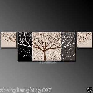black and white Beautiful life tree modern abstract art oil painting