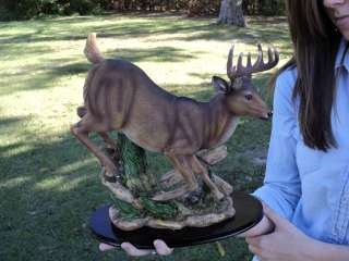 WHITETAIL DEER BUCK 10 POINT FIGURINE HUNTING HUNT DECOR WILDLIFE