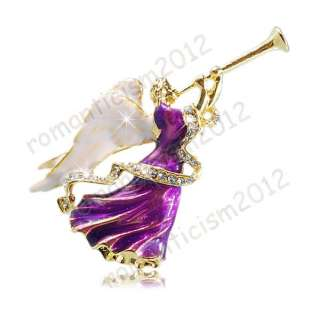 FREE Angel Brooch Pin W Swarovski Crystals Jewelry