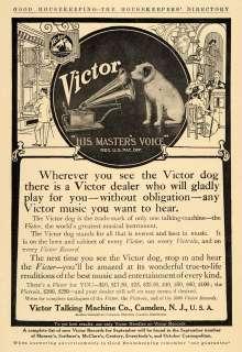 1909 Ad Victor Talking Machine Phonograph Record Dog