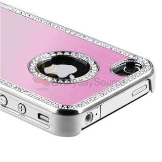 Bling Luxury Light Pink Diamond Hard Case Cover+LCD Guard For iPhone 4