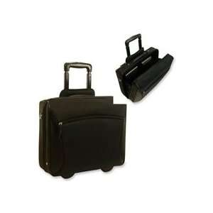 Rolling case with leather trim offers a Stay Open feature that enables