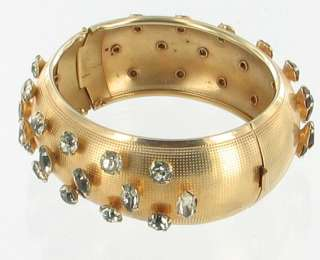 VINTAGE FAB gold tone RED & CRYSTAL MARQUISE RHINESTONE WIDE BANGLE