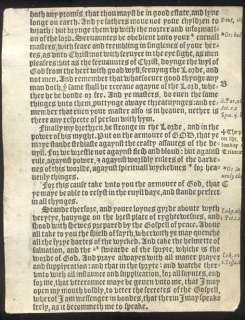 1552 Tyndale Bible Leaf/RARE/EPHESIANS 6/ARMOR OF GOD