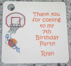 15 Sq Basketball Favor Gift Tags Birthday Party