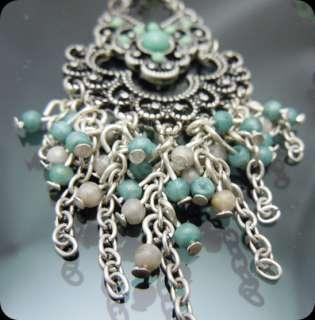 Vintage Silver tone Green Flower Chandelier Earrings 4