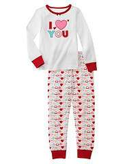 GYMBOREE I LOVE YOU Sweetheart Pajamas PJs Girl 3 3T Pink Heart
