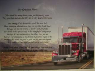 Dad Poem My Greatest Hero On Red 18 wheeler Red Truck