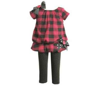 Bonnie Jeans Baby Girls Checkered Fall Dress Outfit 18M