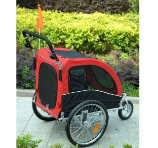 New Pet Dog Bike Bicycle Trailer Stroller Double Space Black Red