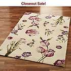 Floral Pink Purple Lilac Flowers Accent Throw Rug 3x5