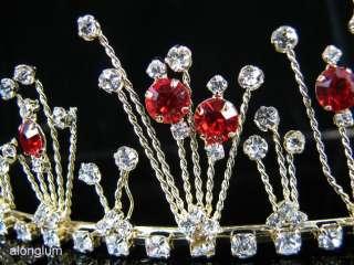 A23 2 8 Red Gold Wedding Bridal Rhinestone Gown Tiara