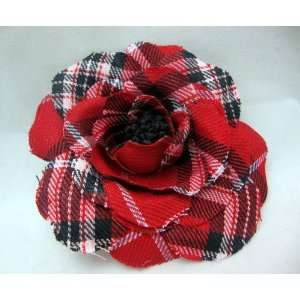 Red Plaid Rose Flower Hair Clip and Pin Beauty