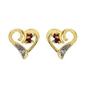 9ct Yellow Gold Ruby & Diamond Heart Stud Earrings