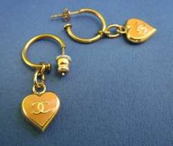 CHANEL Dangle Pierced Earrings Pink x Gold Heart CC logo Stud Dangling