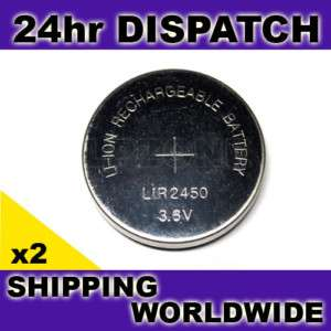 2x Li ion Rechargeable 2450 LiR2450 Coin Cell Battery |