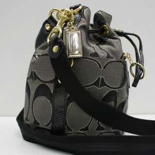 Coach Poppy Black & Gray Signature Canvas Handbag