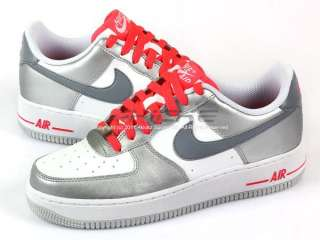 Nike Air Force 1 Low (GS) White/Metallic Cool Grey Solar Red Classic
