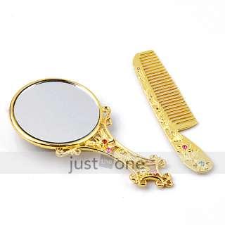 Golden Rhinestone Compact Pocket Mirror & Hair Comb Set