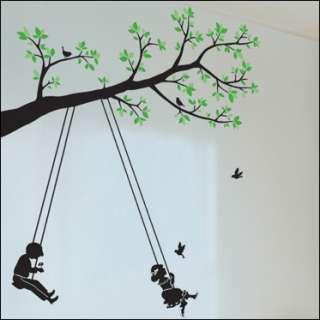 WALL DECAL VINYL DECOR MURAL STICKER TREE & SWING kids