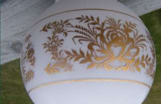 VINTAGE 6 GOLD FLOWERS GLASS CEILING FIXTURE LIGHT BALL SHADE 3