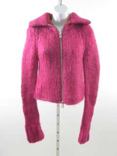 DESIGNER Magenta Full Zip Cardigan Sweater Jacket Sz P