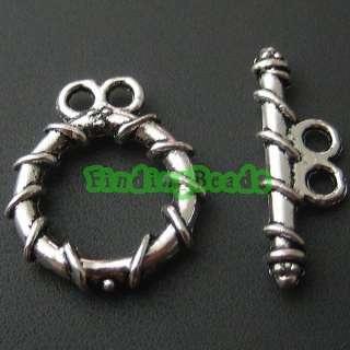 70 sets Tibetan Silver Ring Toggle diy Clasps TS3337