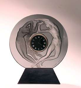 Lalique Night & Day Clock, signed R. Lalique France. 15High, 12.5