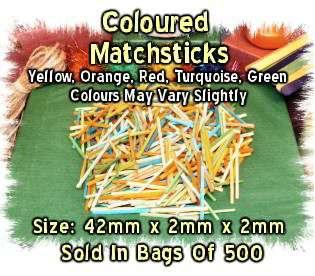 500 x Coloured Wooden Matchsticks, Modelling Kids Craft