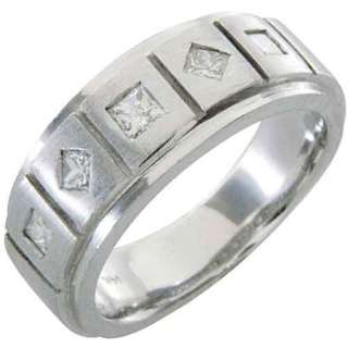 MENS 3/4 CARAT PRINCESS SQUARE CUT DIAMOND RING WEDDING BAND 14KT
