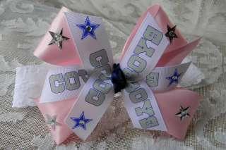 Baby Pink DALLAS COWBOYS Star HAIR BOW headband