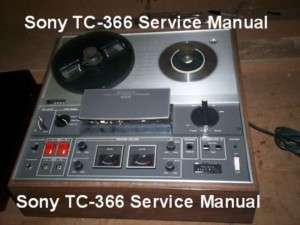 Sony TC 366 REELTO REEL SERVICE MANUAL FREE SHIPPING