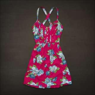 Hollister HCO Women Bluebird Beach Pink Blue Floral Print Sun Dress