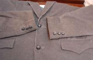 PIONEER WEAR Mens Gray Western Corduroy Sporrtcoat/Blazer/Jacket 42L