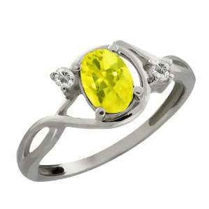 Oval Canary Mystic Topaz and White Topaz 10k White Gold Ring Jewelry