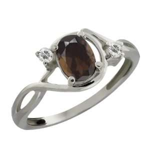 Oval Brown Smoky Quartz and White Topaz 10k White Gold Ring Jewelry