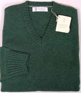 CUCINELLI SWEATER GREEN 100%CASHMERE 4 PLY V NECK PULLOVER XXL 56e NEW