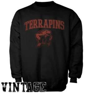 Maryland Terrapins Black Universal Logo Vintage Crew Sweatshirt