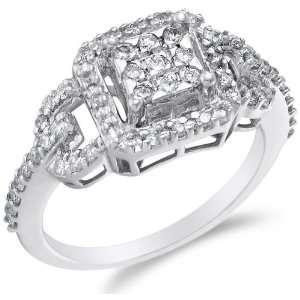 White Gold Diamond Halo Engagement Ring   Square Princess Shape Center